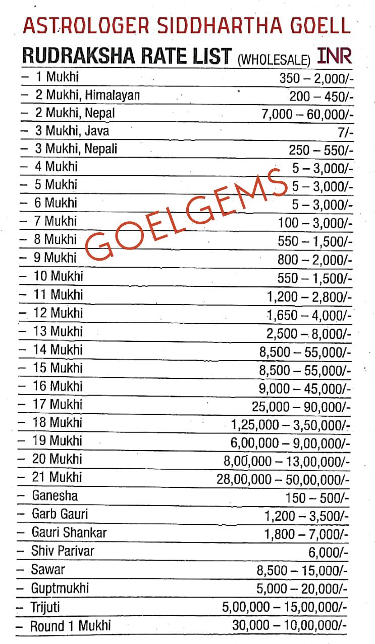 Rudraksha Price list